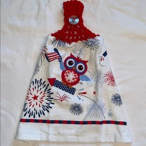 Other - Patriotic Owl Crocheted Hanging Kitchen Towel
